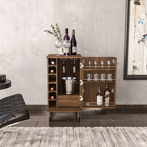 Boahaus Wrexham Expandable Bar, 01 Door, Wine Racks, 01 Drawer