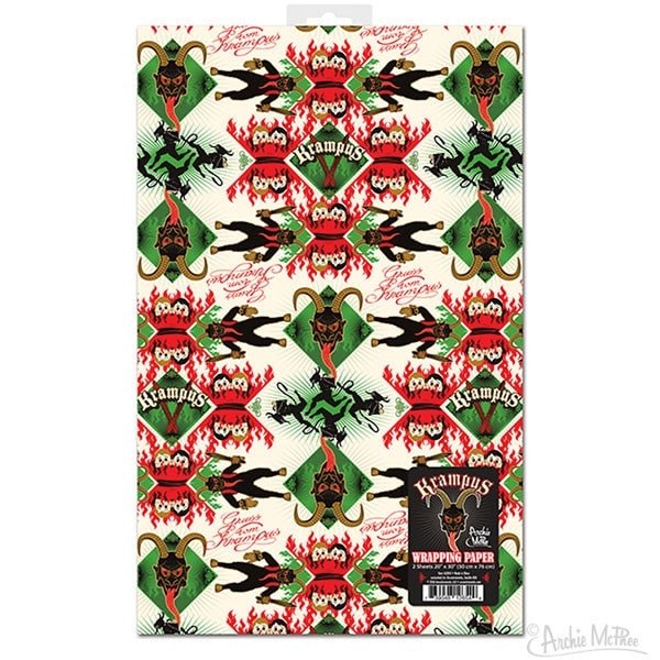 Krampus Gift Wrapping Paper, Set of 2