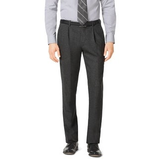 Michael Kors Slim Fit Pleated Front Flannel Dress Pants Charcoal 30 x 34