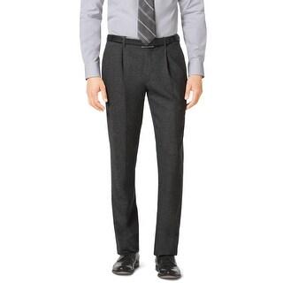 Michael Kors Slim Fit Pleated Front Flannel Dress Pants Charcoal 40W x 34L
