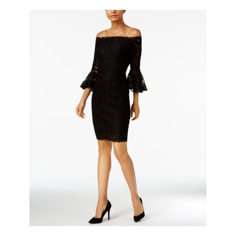 ADRIANNA PAPELL Black Bell Sleeve Above The Knee Sheath Dress Size 2