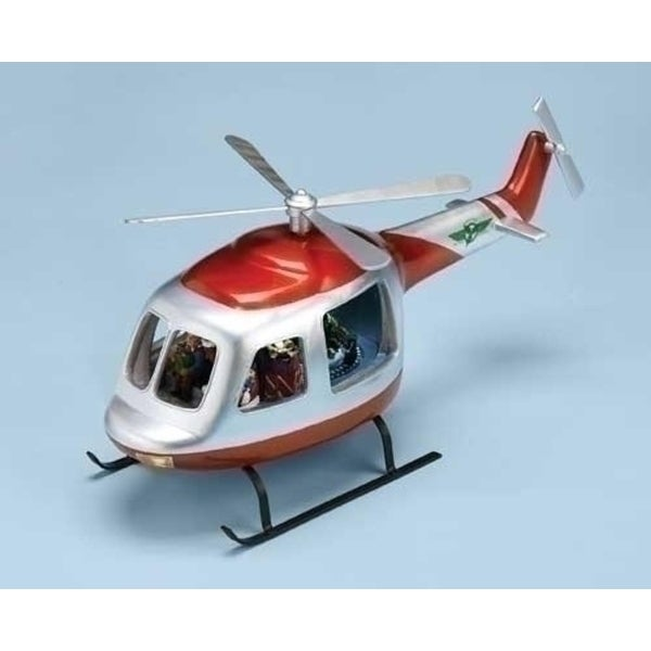 "17.75"" Musical Lighted Rotating Chopper Helicopter Christmas Decoration - silver"