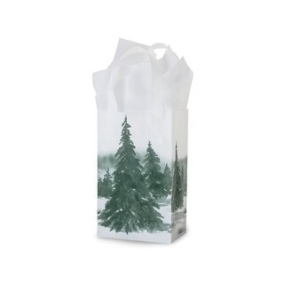 """Pack of 200, Rose Winter Landscape Plastic Bags 3 Mil Bags 5.25 X 3.25 X 8.5"""" For Christmas Packaging"""