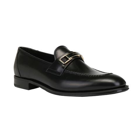 Prada Men's Leather Logo Buckle Loafers Shoes Black