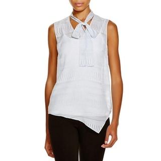 T Tahari Womens Meryl Pullover Top Sheer Bow Neck
