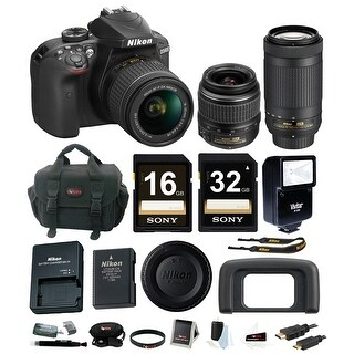 Nikon D3400 DSLR Camera with 18-55 and 70-300mm Lenses (Black) + promotional Holiday Kit