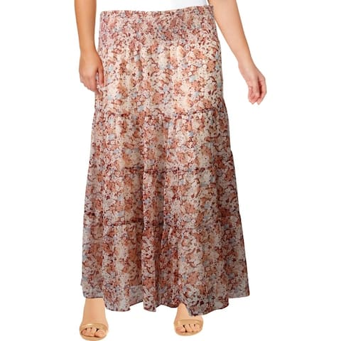 Lauren Ralph Lauren Womens Plus Zahra Peasant, Boho Skirt Floral Smocked - Dark Raspberry Multi