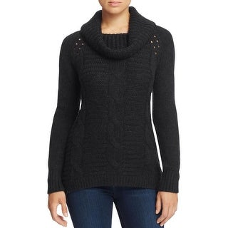 T Tahari Womens Shawl-Collar Sweater Cable Knit Ribbed Trim