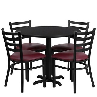 "Dyersburg 5pcs Table Set Round 36"" Black X-Base, Burgundy Chair"
