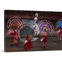 Premium Thick-Wrap Canvas entitled Xcaret, re-enactment of Mexican history - Multi-color