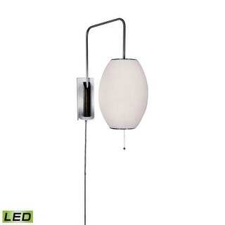 """Lamp Works 402-LED Cigar 1 Light 10"""" Wide LED Wall Sconce with White Fabric Shade"""