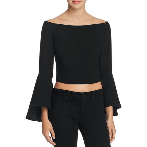 Bardot Womens Solange Blouse Bell Sleeves Off-The-Shoulder