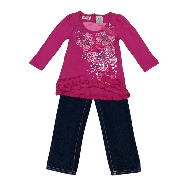 American Character Baby Girls Fuchsia Butterfly Print Denim Pants Outfit