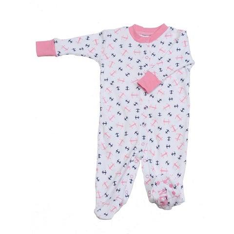 New Jammies Baby Girls Pink Anchor Print Organic Cotton Footie Romper