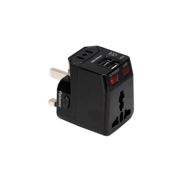 QVS PA-C4BK QVS Premium World Travel Power Adaptor with Surge Protection & 2.1A Dual-USB Charger - 120 V AC, 230 V AC Input