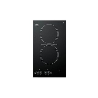 Summit CR2110 12 Inch Wide 120V Built In Electric Cooktop with Black Ceramic Gla
