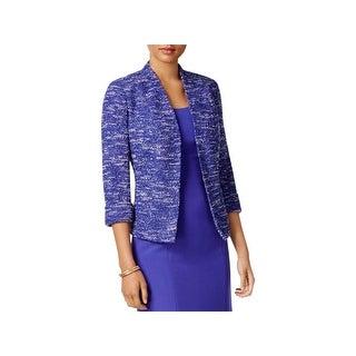 Kasper Womens Tweed Jacket Open Front Office Wear