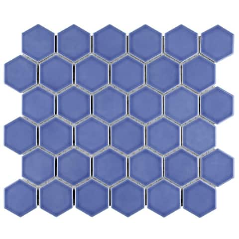 "SomerTile 11.125 x 12.625-Inch Tribeca 2"" Hex Glossy Periwinkle Porcelain Mosaic Floor and Wall Tile (10 Tiles/9.96 sqft.)"