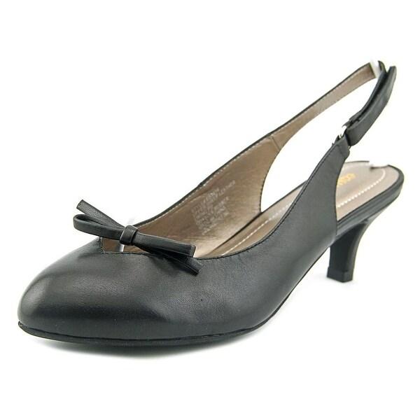 Easy Spirit Kitten Heel Women W Pointed Toe Leather Black Slingback Heel