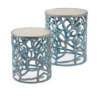 Set of 2 Sky Blue Coral Decorative Round Drum Tables with Mother of Pearl Tops