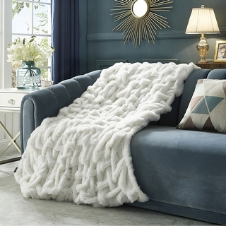 "Link to Akela 50""x60"" Stitched Faux Fur Throw Similar Items in Blankets & Throws"