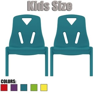 """2xhome - Set of Two (2) - Kids Size Plastic Side Chair 10"""" Seat Height Teal Childs Chair Childrens Room Chairs No Arm Armless"""