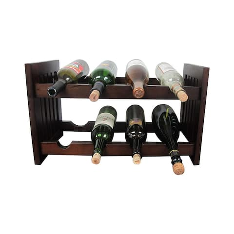 Offex Handcrafted Solid Mahogany Wood Old Country Wine Rack