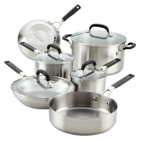 KitchenAid Stainless Steel Cookware Set, 10-Piece, Brushed