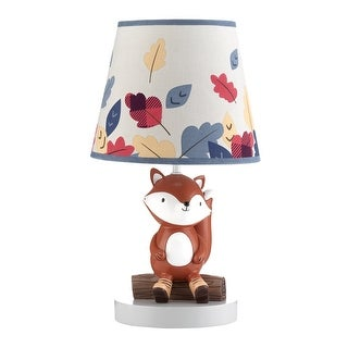 Lambs & Ivy Little Campers Gray/Blue Woodland Fox Lamp with Shade & Bulb -