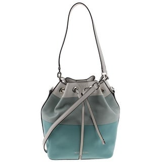 MICHAEL Michael Kors Womens Dottie Bucket Handbag Leather Colorblock - azure/celedon/white - LARGE