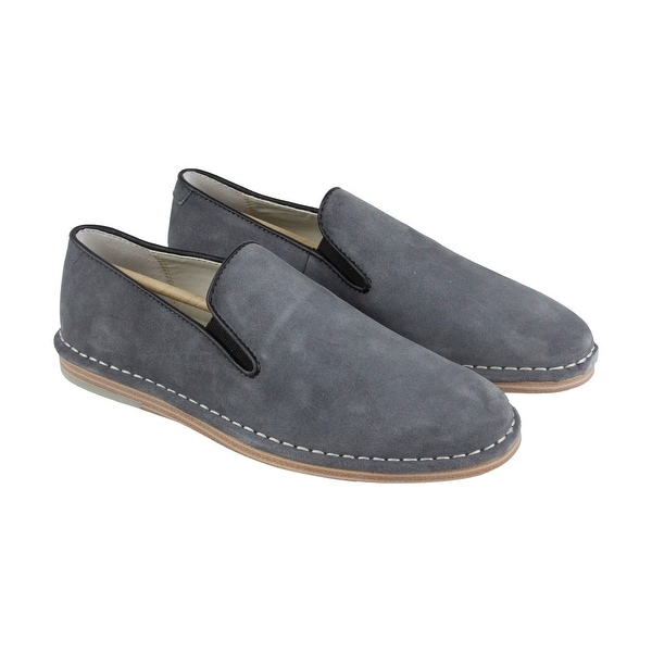 Calvin Klein Wagner Calf Mens Gray Suede Casual Dress Slip On Loafers Shoes