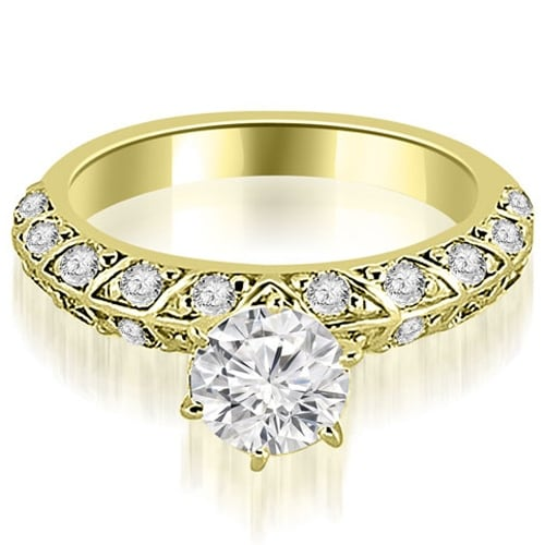 1.10 cttw. 14K Yellow Gold Antique Round Cut Diamond Engagement Ring