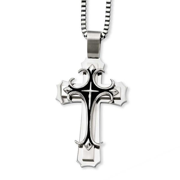 Stainless Steel Cross Pendant 24in Necklace (3 mm) - 24 in