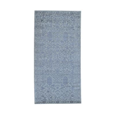 "Shahbanu Rugs Gray Jacquard Hand Loomed Broken Cypress Tree Design Wool and Silk Thick and Plush Runner Oriental Rug (2'5""x8'0"")"