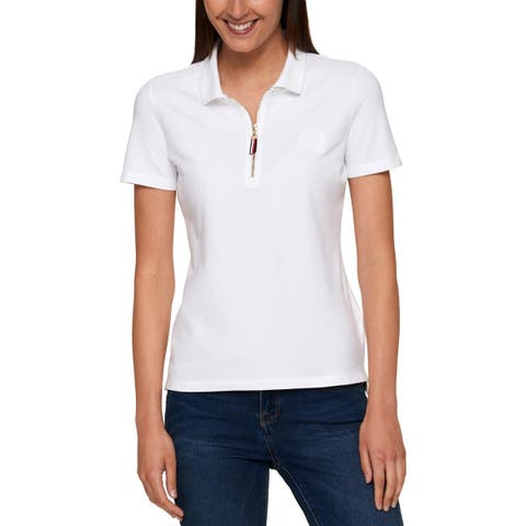Tommy Hilfiger Womens Polo Top Semi Fitted Zip Up