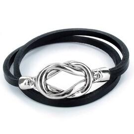 Steel Knot Double Wrap Leather Bracelet (Black) (4 mm) - 8 in