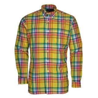 Ralph Lauren RL Cotton Button-Down Shirt Medium M Yellow Plaid Long Sleeves