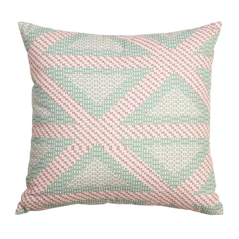 "Arden Selections Home 18"" Throw Pillow - Green and Pink Crosshatch Triangle"