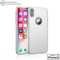 Indigi iPhone X 360 Full Body Protective Case & Tempered Glass (White)