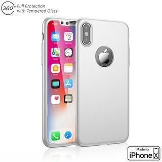 Indigi iPhone X 360 Full Body Protective Case & Tempered Glass (White)