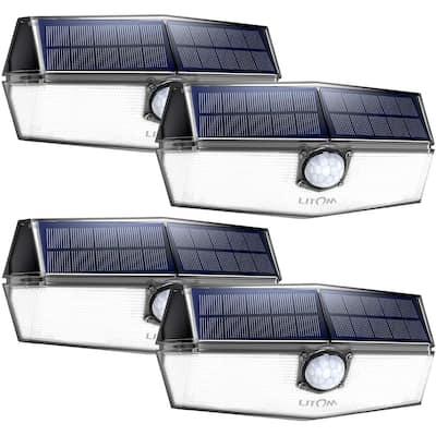 Litom 4 Pcs 120 LED Solar Lights Outdoor, Upgraded Solar Panel IP67 Waterproof, Portable Solar Powered Security Light