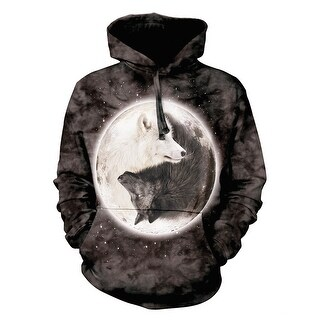 The Mountain Unisex Yin Yang Wolves Hoodie - Black and White Hooded Sweatshirt