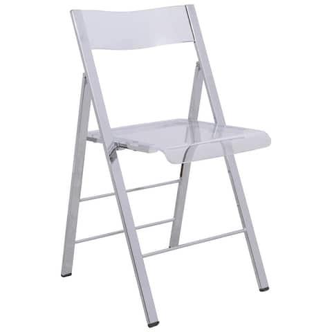 LeisureMod Menno Modern Acrylic Folding Chair with Chrome Frame