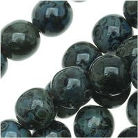 Czech Glass Druk Round Beads 6mm Jet Picasso (50)