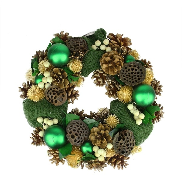 "13"" Green Burlap, Pine Cone, and Berry Artificial Christmas Wreath - Unlit"
