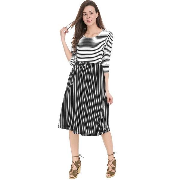 14e0ba9e79 Allegra K Women Contrast Stripes 3/4 Sleeves Paneled Flared Midi Dress