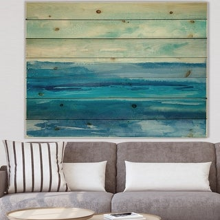 Link to Designart 'Out to Sea' Nautical & Beach Print on Natural Pine Wood - Blue Similar Items in Wood Wall Art
