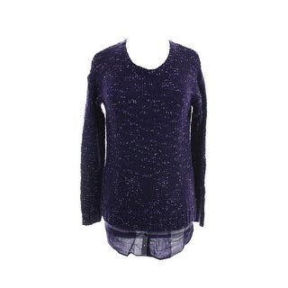 Kensie Midnight Purple Long-Sleeve Nep-Knit Layered-Look Sweater M