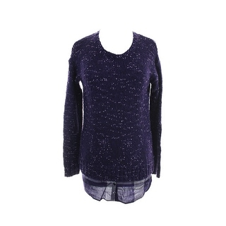 Kensie Purple Combo Long-Sleeve Nep-Knit Layered-Look Sweater S