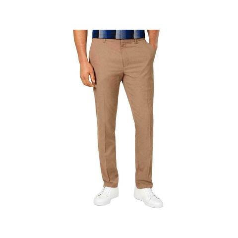 ALFANI Mens Brown Flat Front Classic Fit Stretch Pants 34W/ 30L - 34W/ 30L